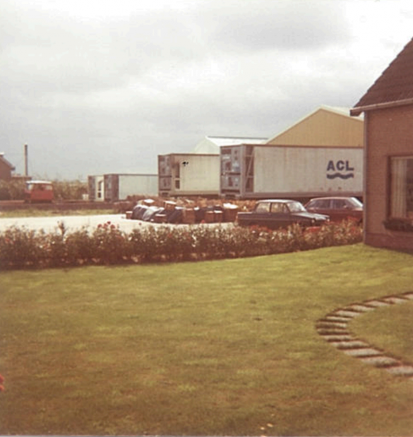 Containers in front of the door